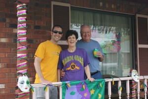 Mark from Metairie and his folks, 'The Captain' & Peggy, welcome us back to Mardi Gras.