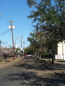 Mardi Gras Trees on St. Charles Loaded Down with Beads the Week After