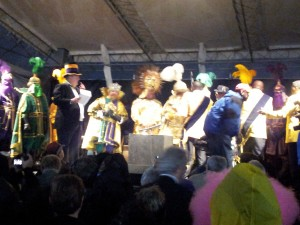 Kings of Rex & Zulu Meet On a Drizzly Mardi Gras (Thus apologies for fuzzy photography!)