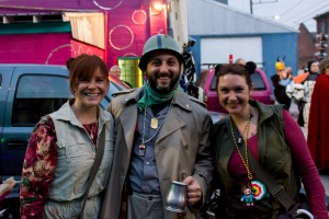 Leader of the Browncoats Brass Band Poses With Groupies (Courtesy of Docta Drey)