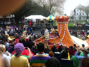 St. Charles Bleachers During Rex 2014 http://www.bigboyaudio.com/mardi-gras-city-new-orleans-2014/