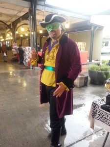 The Purple, Green & Gold Pirate at the French Market