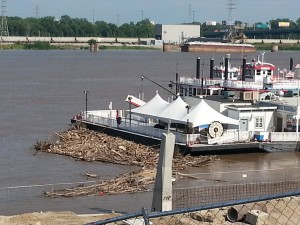 Debris Collects on Grounded St. Louis Riverboat